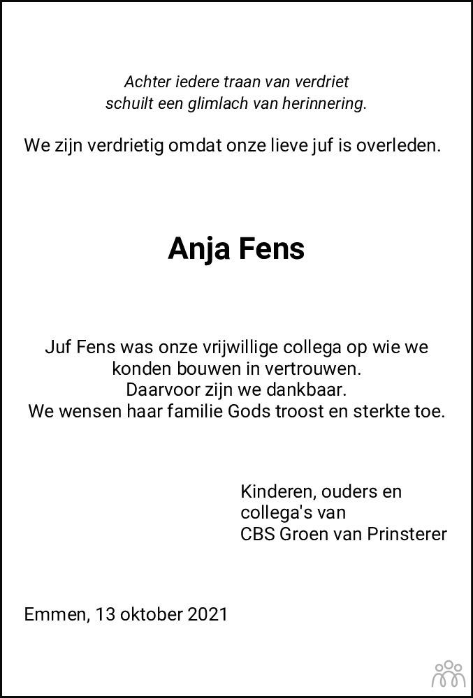 Overlijdensbericht van Anja Fens in Dagblad van het Noorden