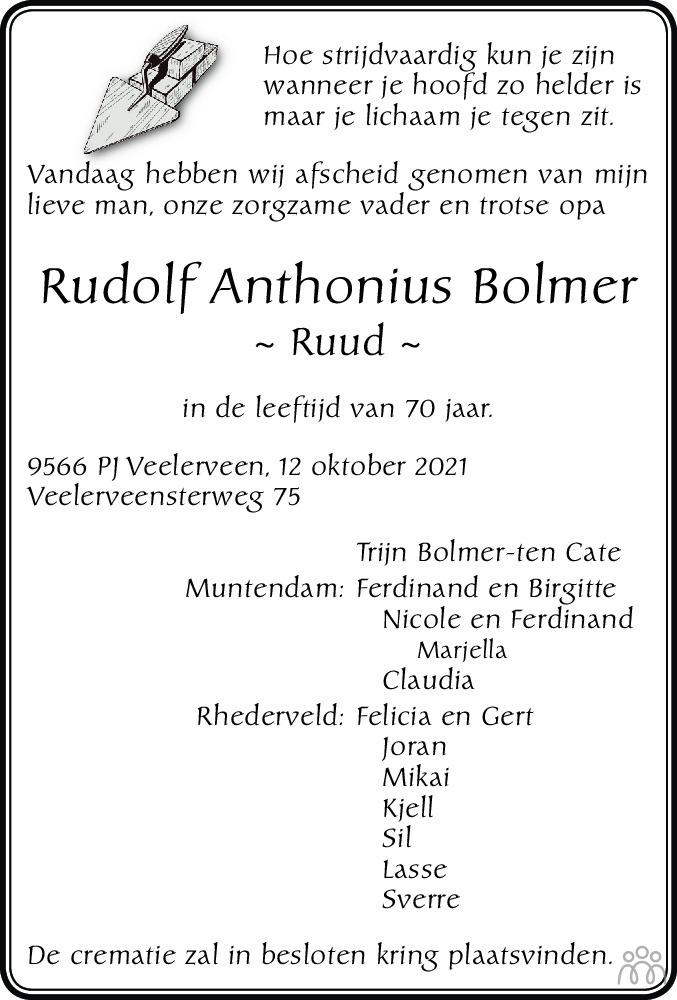 Overlijdensbericht van Rudolf (Ruud) Anthonius Bolmer in Dagblad van het Noorden