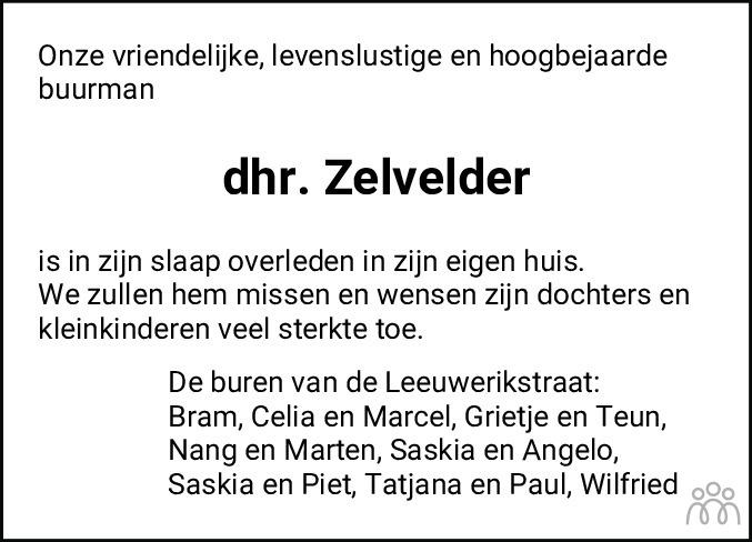 Overlijdensbericht van Cornelis (Kees) Adrianus Zelvelder in Leeuwarder Courant