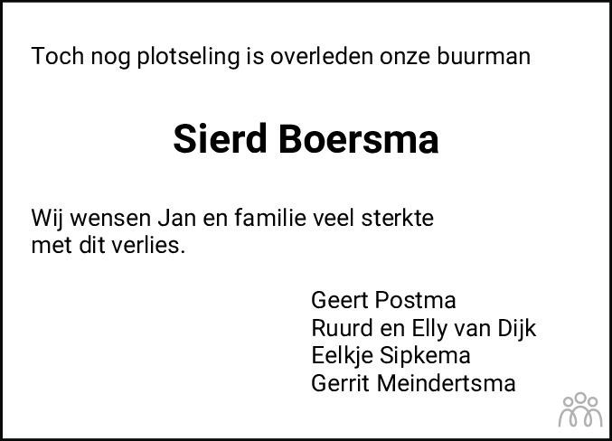 Overlijdensbericht van Sierd Boersma in Nieuwsblad Noordoost-Friesland