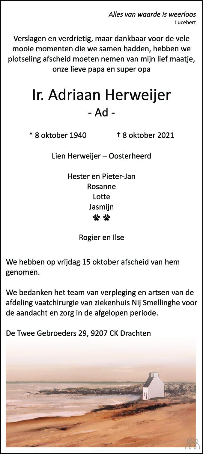Overlijdensbericht van Adriaan (Ad) Herweijer in Leeuwarder Courant