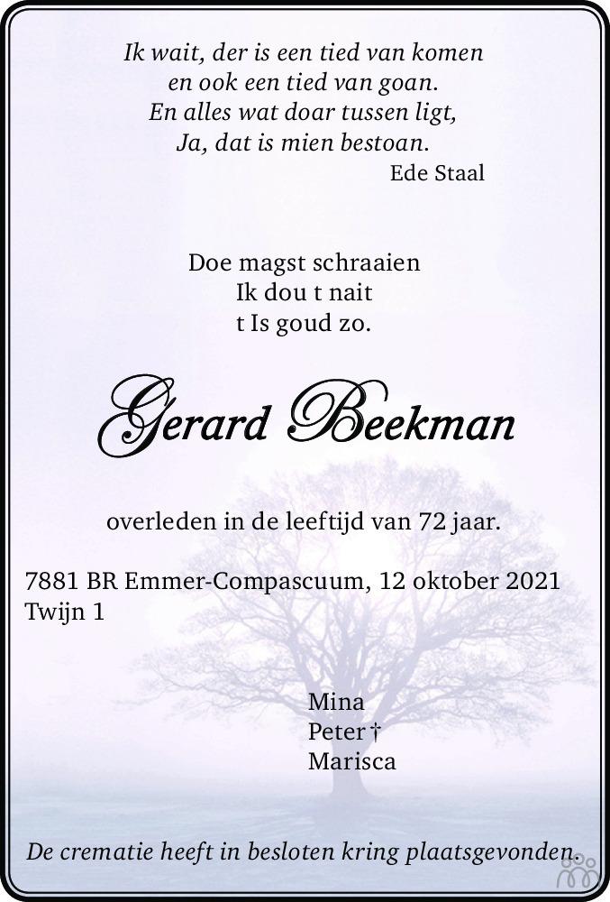 Overlijdensbericht van Gerard Beekman in Emmen Nu