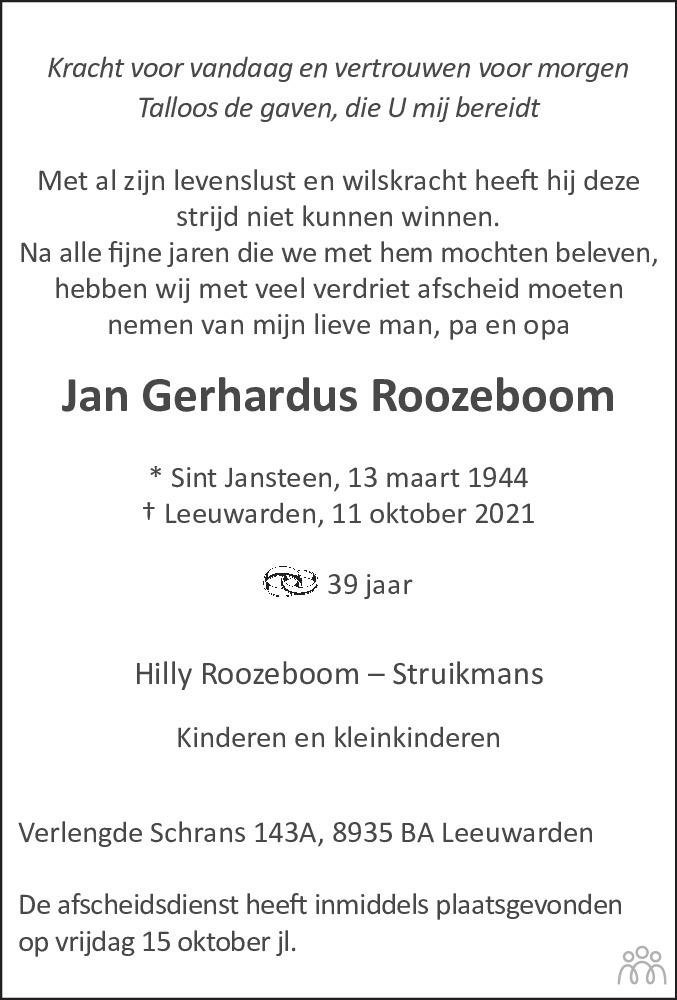 Overlijdensbericht van Jan Gerhardus Roozeboom in Huis aan Huis