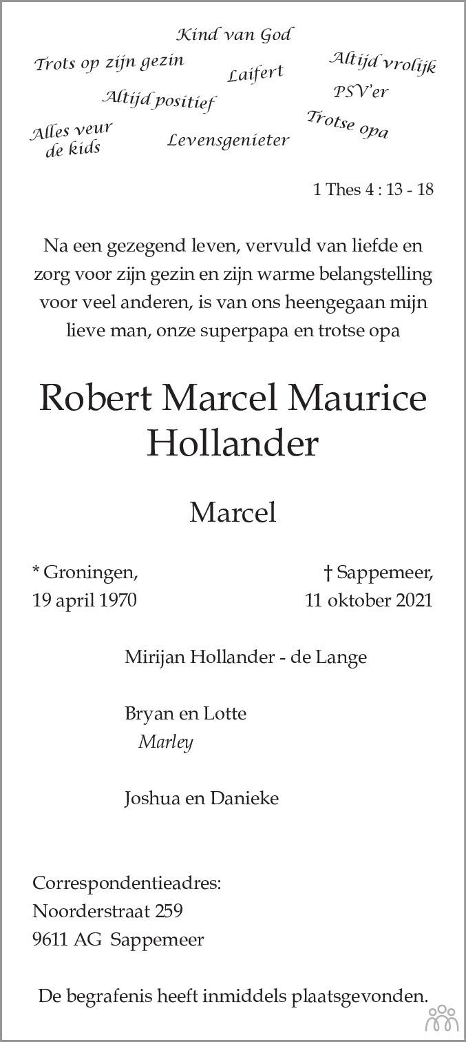 Overlijdensbericht van Robert Marcel Maurice (Marcel) Hollander in HS-krant
