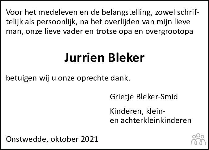 Overlijdensbericht van Jurrien Bleker in Kanaalstreek Ter Apeler Courant