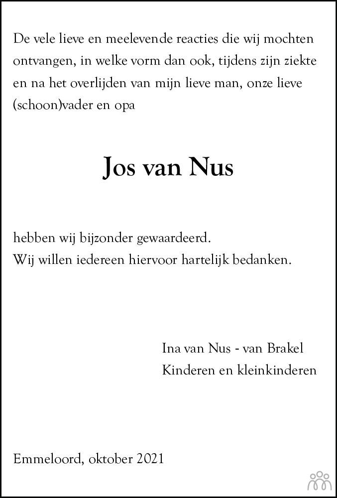 Overlijdensbericht van Adrianus (Jos) van Nus in Noordoostpolder