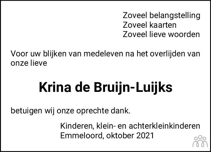 Overlijdensbericht van Krina de Bruijn-Luijks in Noordoostpolder
