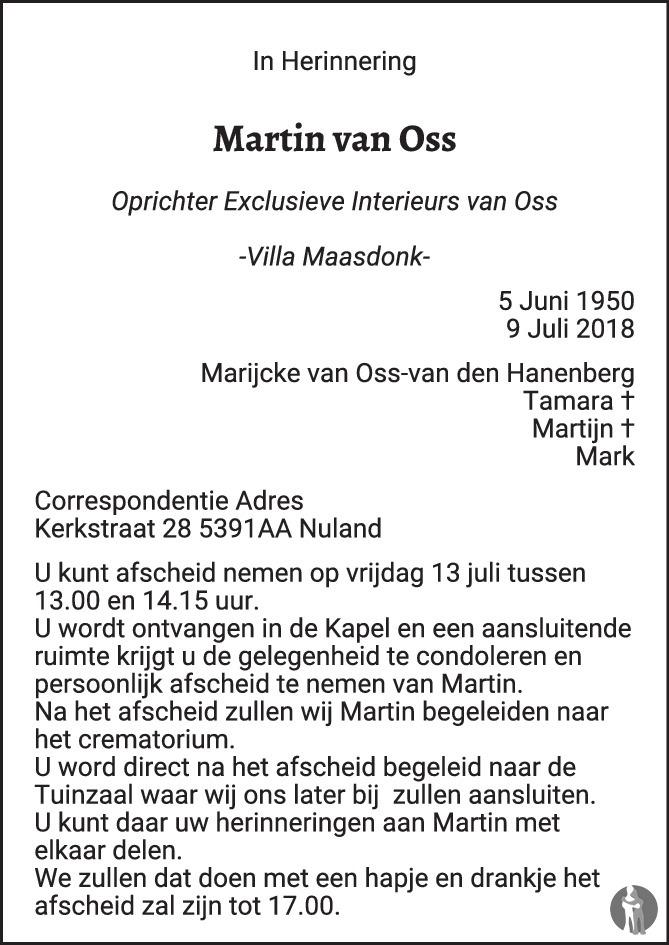 Martin van Oss ✝ 09-07-2018 overlijdensbericht en condoleances ...