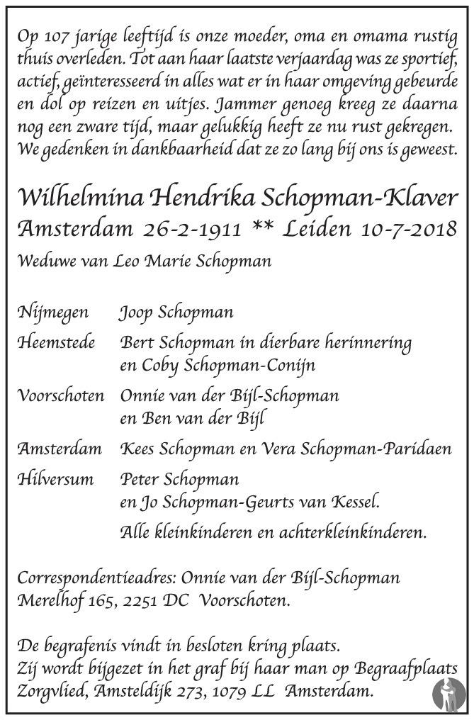 Overlijdensbericht van Wilhelmina Hendrika Schopman - Klaver in de Volkskrant