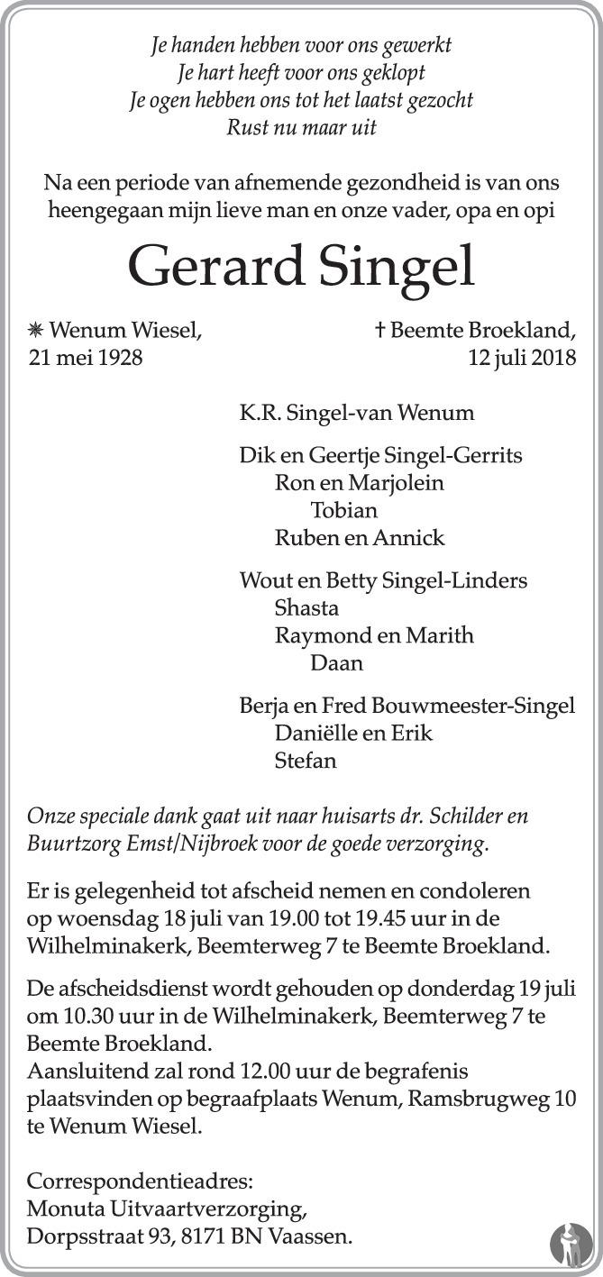 Overlijdensbericht van Gerard Singel in de Stentor