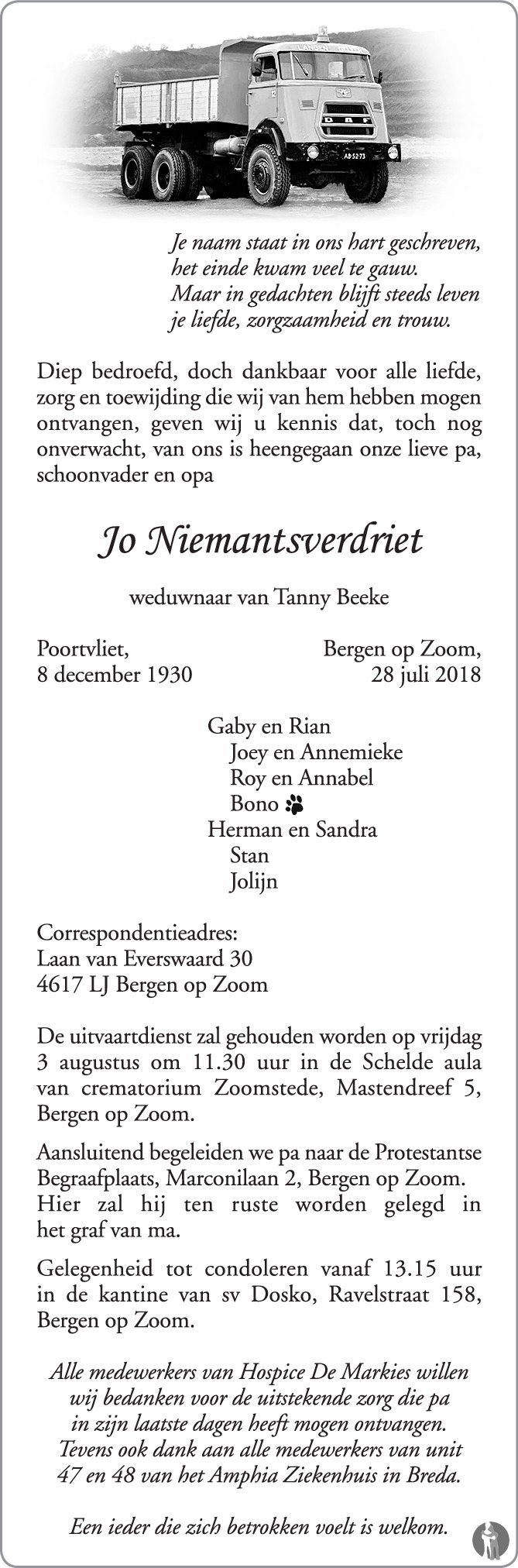 Overlijdensbericht van Jo Niemantsverdriet in BN DeStem