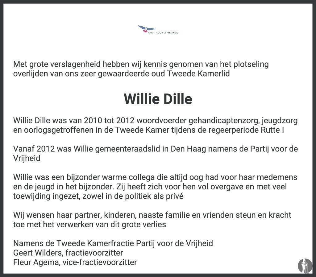 Overlijdensbericht van Willie Dille in AD Algemeen Dagblad
