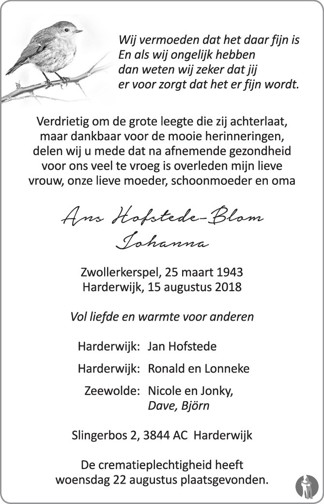 Johanna (Ans) Hofstede - Blom ✝ 15-08-2018 overlijdensbericht en ...