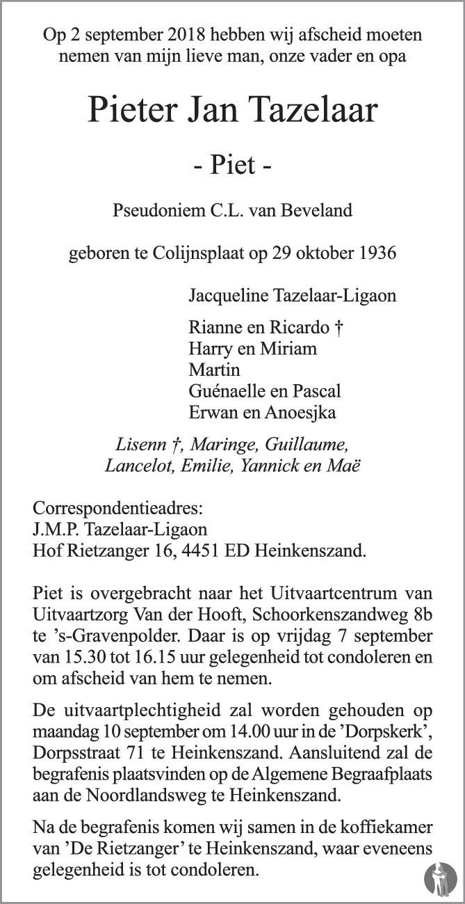 Overlijdensbericht van Pieter Jan (Piet) Tazelaar in PZC Provinciale Zeeuwse Courant