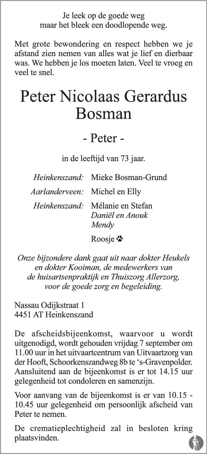 Overlijdensbericht van Peter Nicolaas Gerardus (Peter) Bosman in PZC Provinciale Zeeuwse Courant