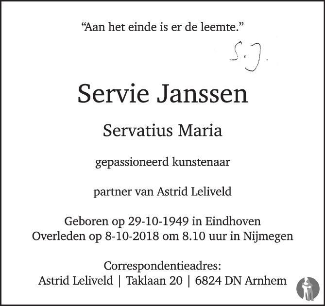 Overlijdensbericht van Servatius Maria (Servie) Janssen  in de Volkskrant