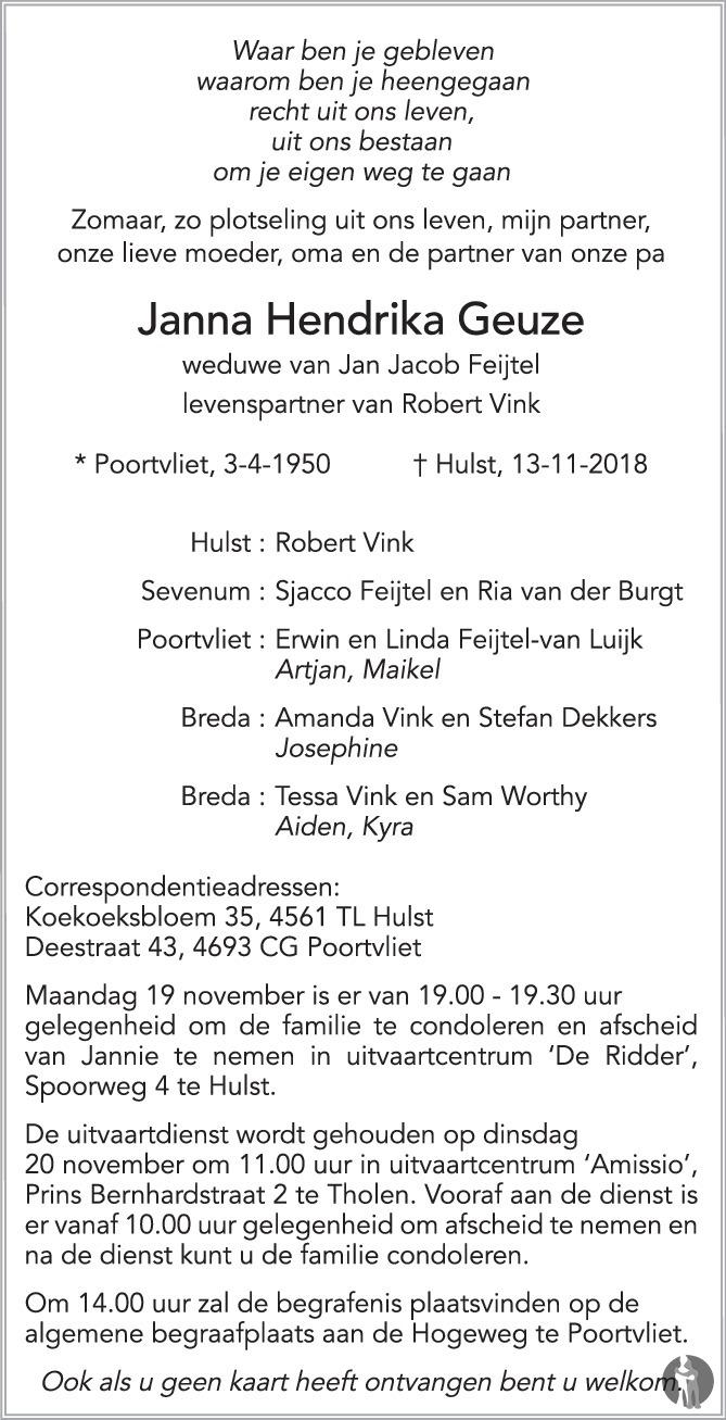 Overlijdensbericht van Janna Hendrika Geuze in PZC Provinciale Zeeuwse Courant