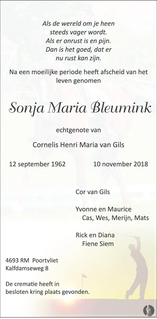 Overlijdensbericht van Sonja Maria Bleumink in BN DeStem