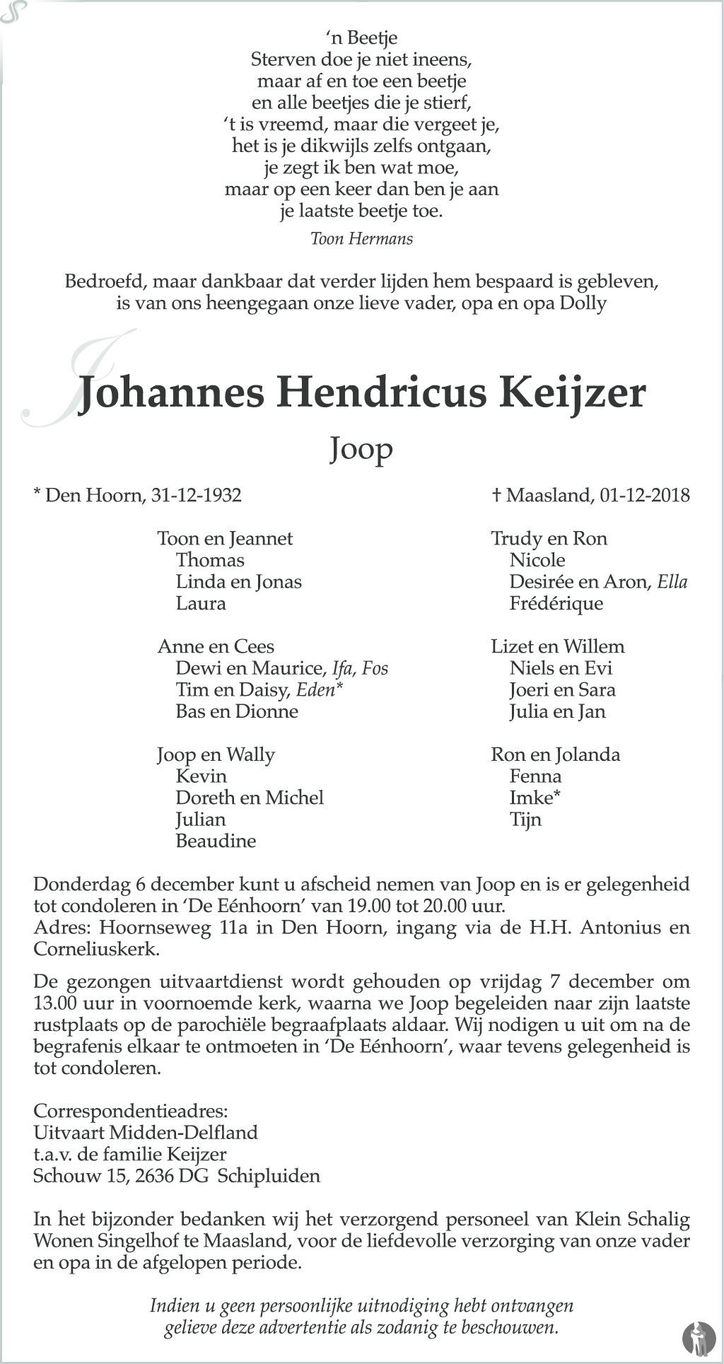 Johannes Hendricus Joop Keijzer 01 12 2018