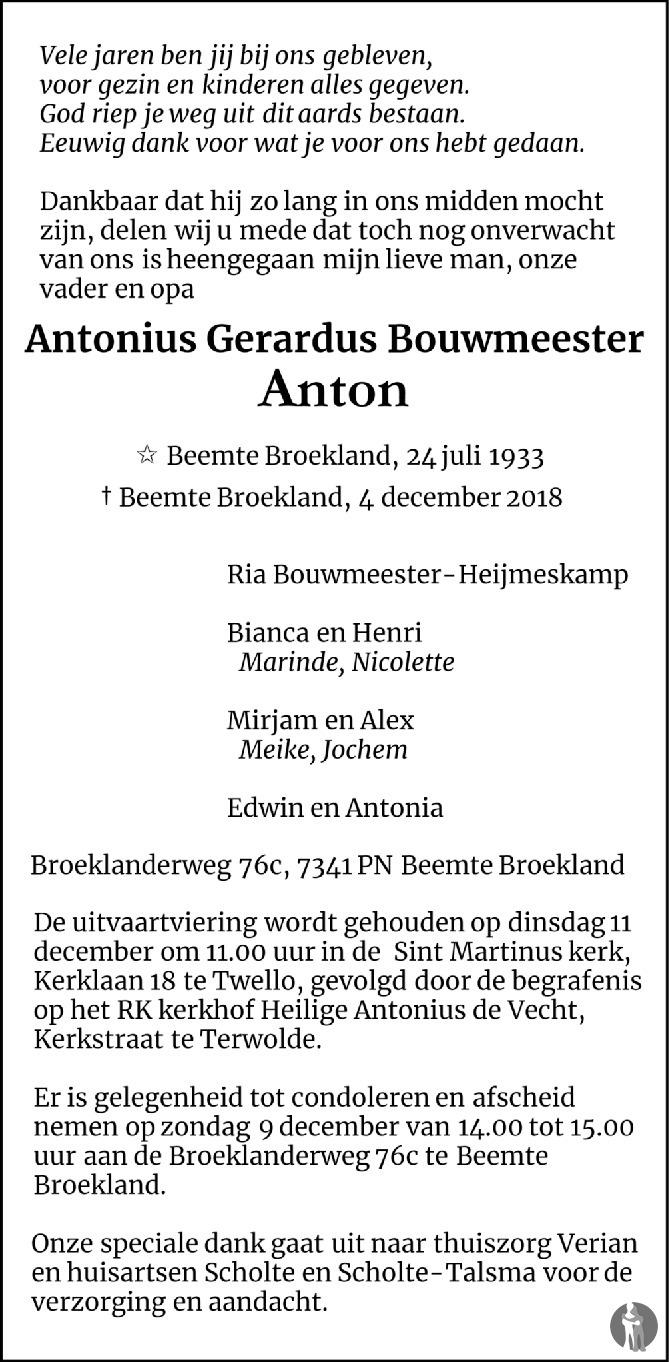 Overlijdensbericht van Antonius Gerardus (Anton) Bouwmeester  in de Stentor