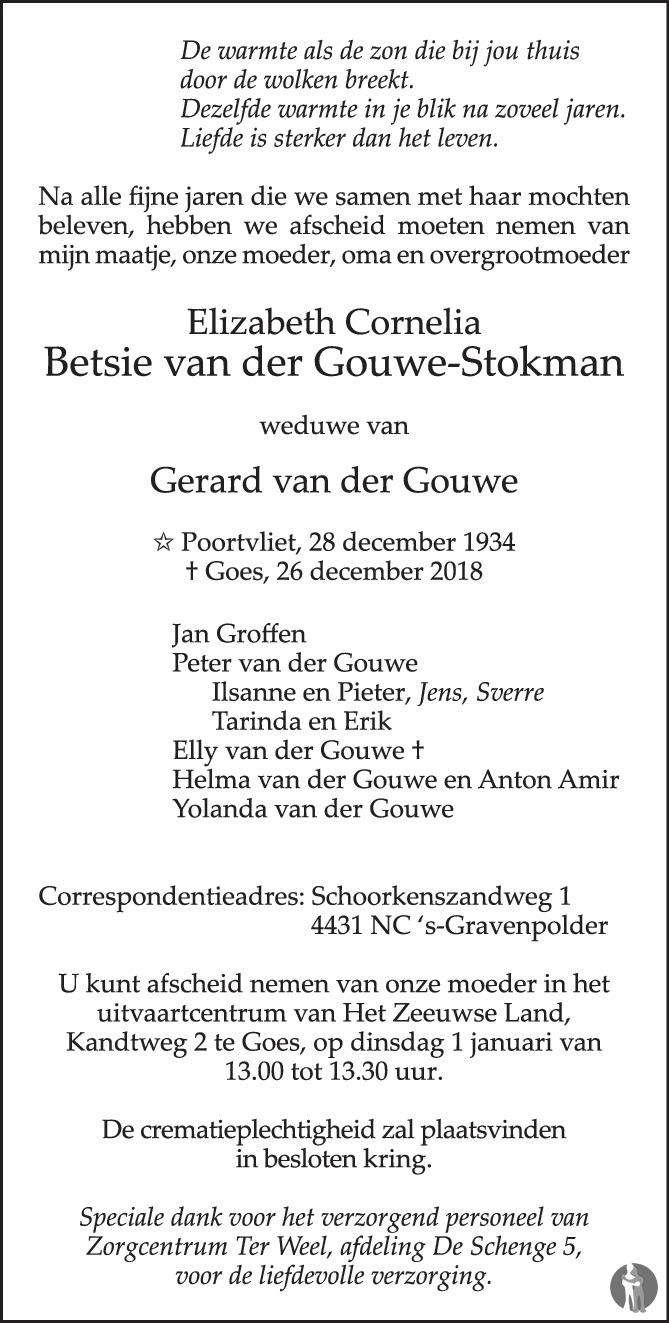 Overlijdensbericht van Elizabeth Cornelia (Betsie) van der Gouwe - Stokman in PZC Provinciale Zeeuwse Courant