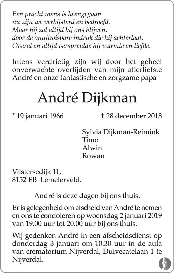 Andre Dijkman 28 12 2018 Overlijdensbericht En Condoleances