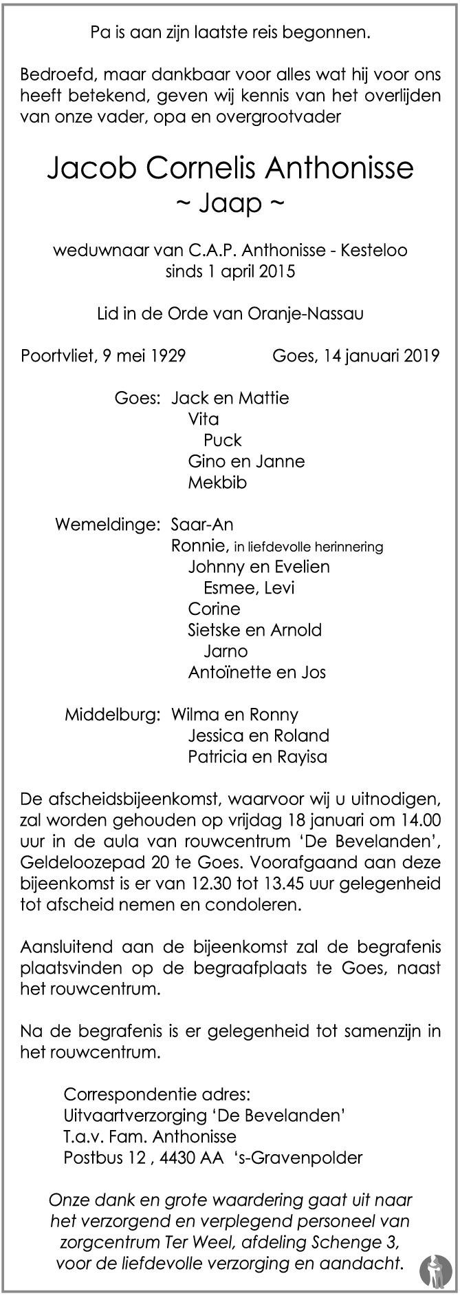 Overlijdensbericht van Jacob Cornelis (Jaap) Anthonisse  in PZC Provinciale Zeeuwse Courant