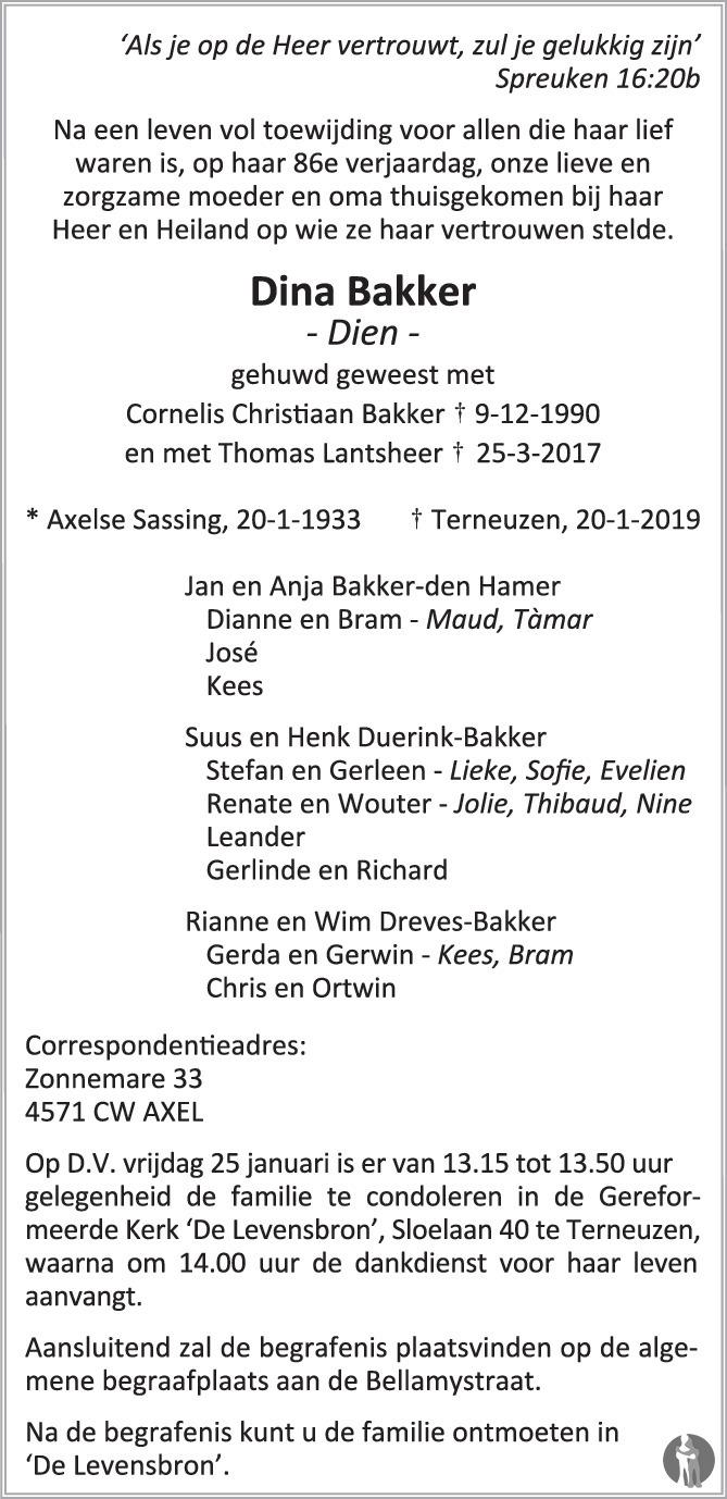 Dina Dien Lantsheer Bakker 20 01 2019 Overlijdensbericht En