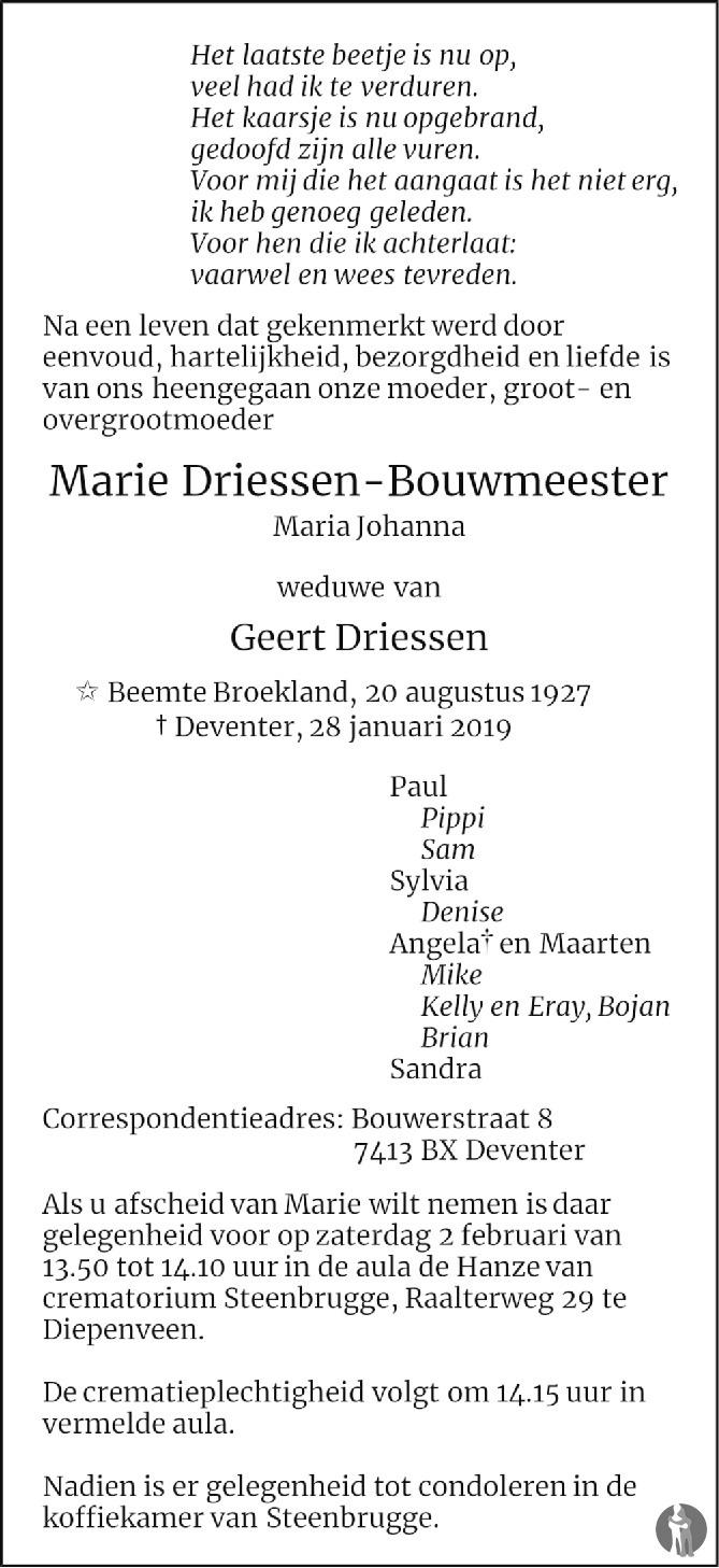 Overlijdensbericht van Maria Johanna (Marie) Driessen - Bouwmeester in de Stentor