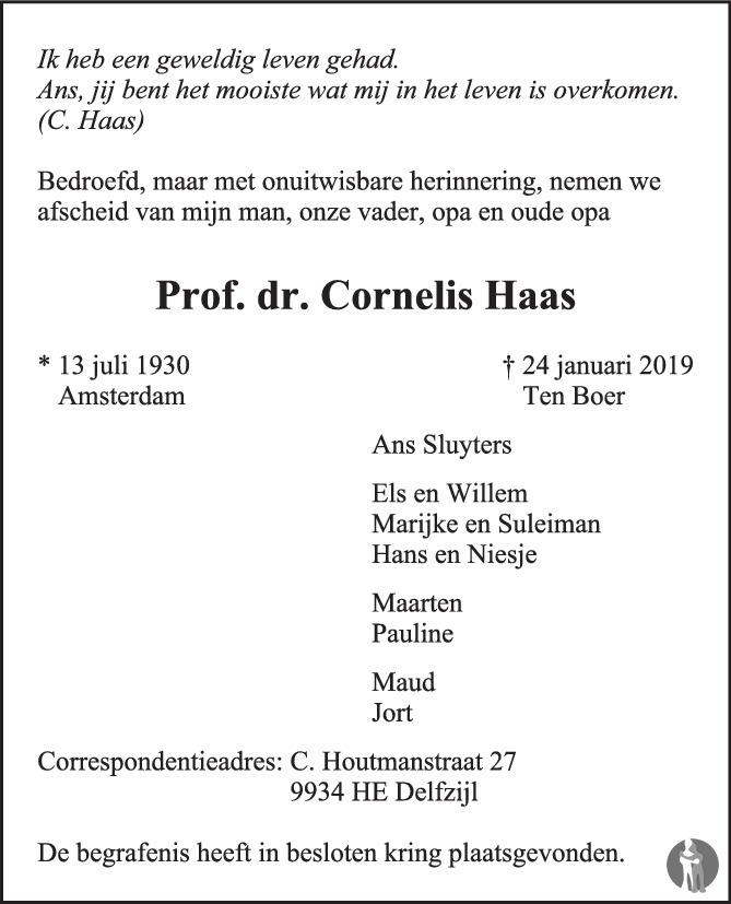 Overlijdensbericht van Prof. dr. Cornelis Haas  in de Volkskrant