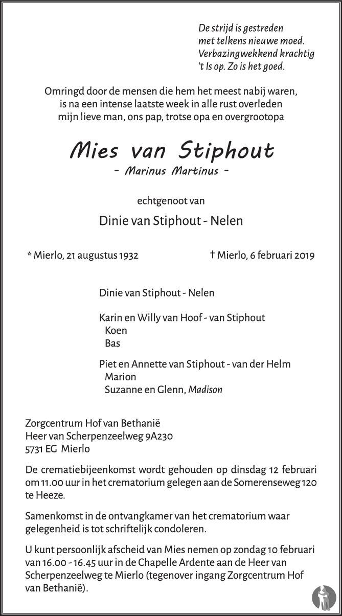 Marinus Martinus Mies Van Stiphout 06 02 2019