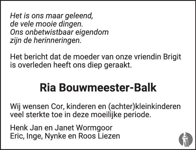 Overlijdensbericht van Hendrika Wilhelmina (Ria) Bouwmeester - Balk in de Stentor