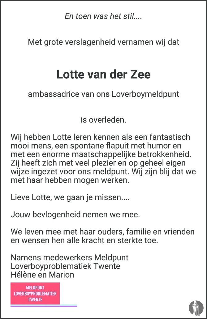 Overlijdensbericht van Lotte van der Zee in Tubantia