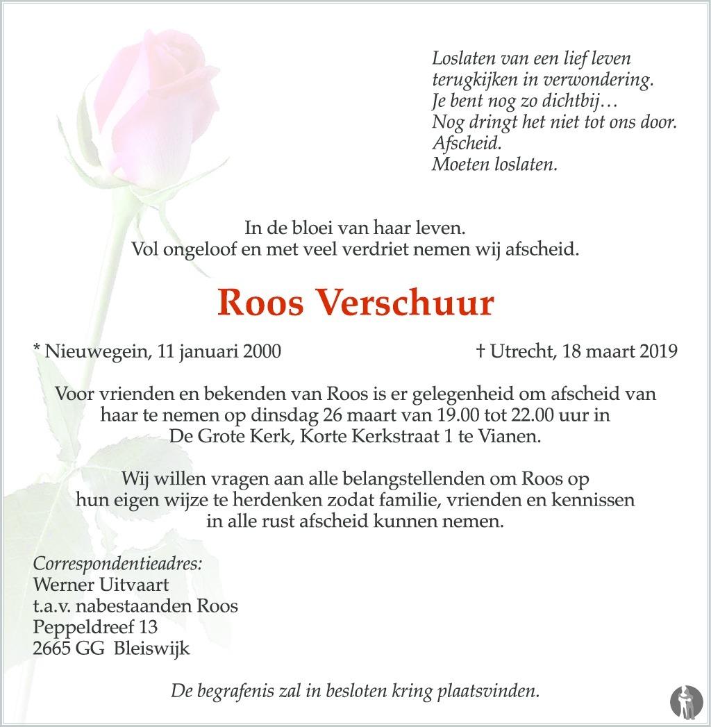 Overlijdensbericht van Roos Verschuur  in AD Algemeen Dagblad