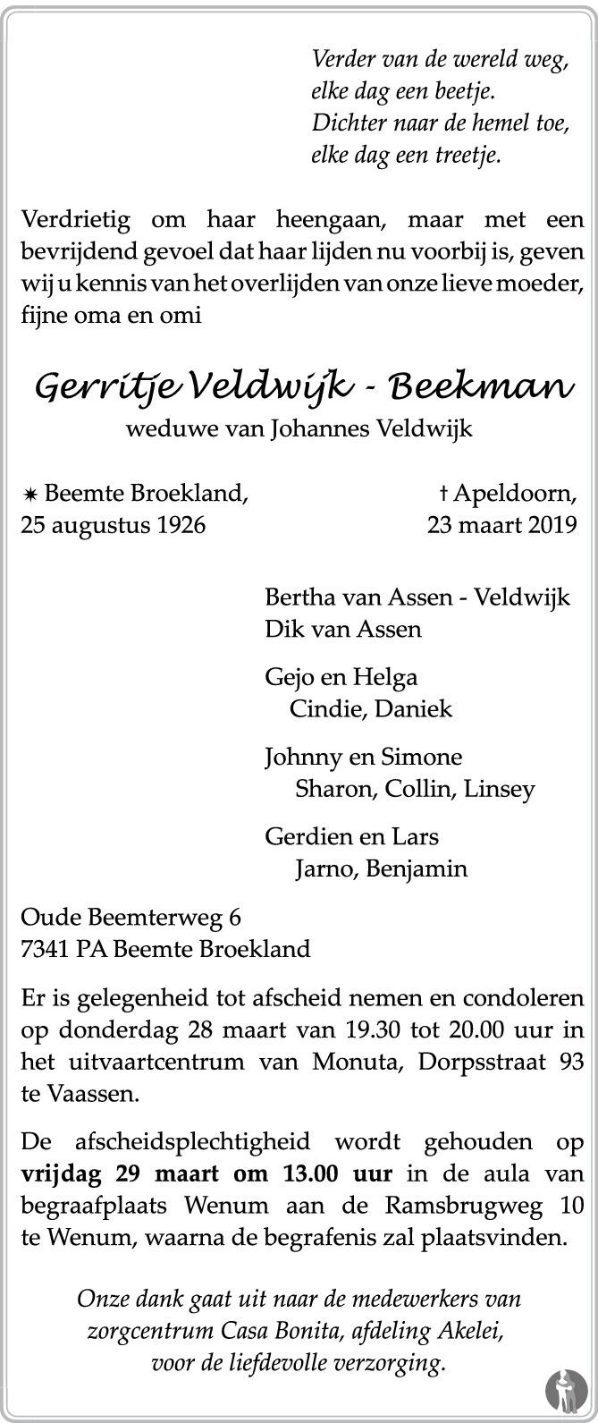 Overlijdensbericht van Gerritje Veldwijk - Beekman in de Stentor