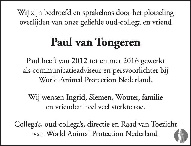 Overlijdensbericht van Paul van Tongeren  in de Volkskrant