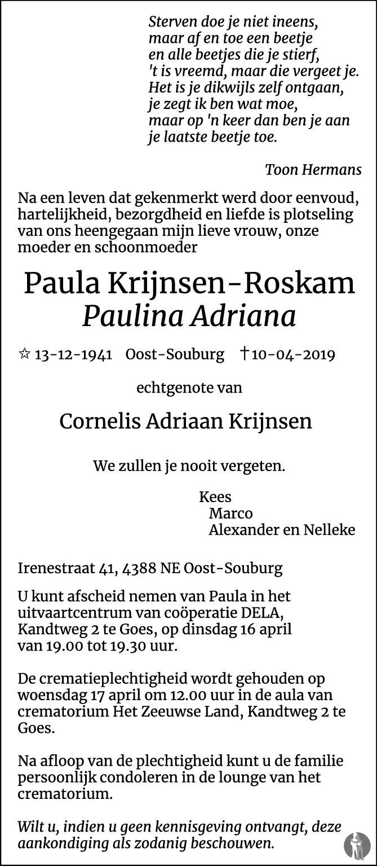 Paulina Adriana Paula Krijnsen Roskam 10 04 2019