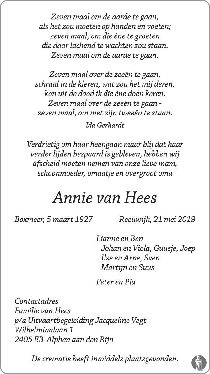 Annie Van Hees 21 05 2019 Overlijdensbericht En
