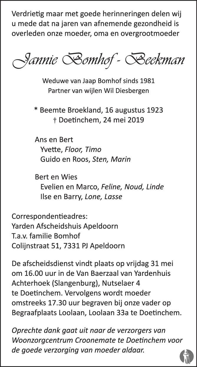Overlijdensbericht van Jannie Bomhof - Beekman in de Gelderlander