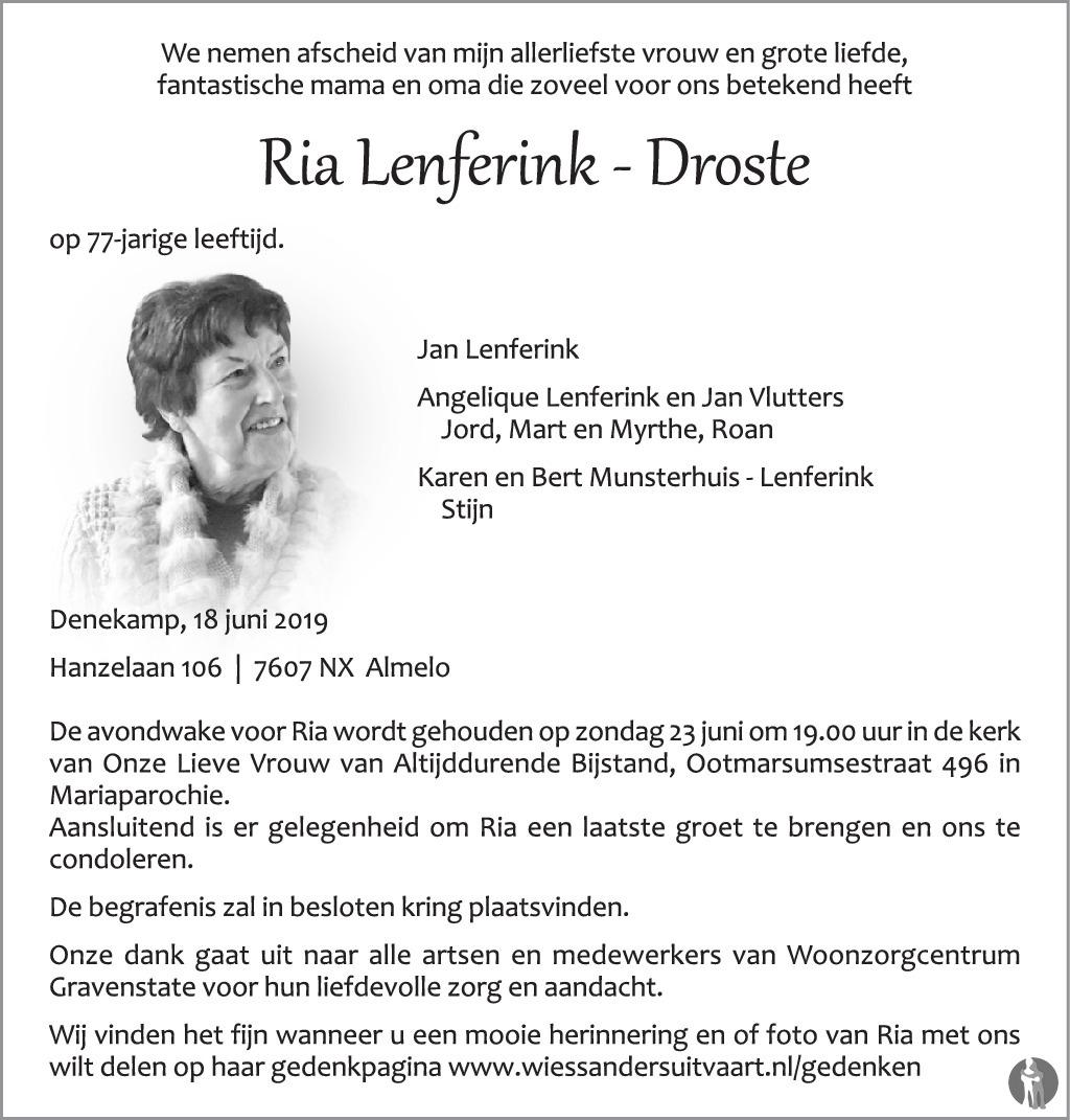 Ria Lenferink Droste 18 06 2019 Overlijdensbericht En