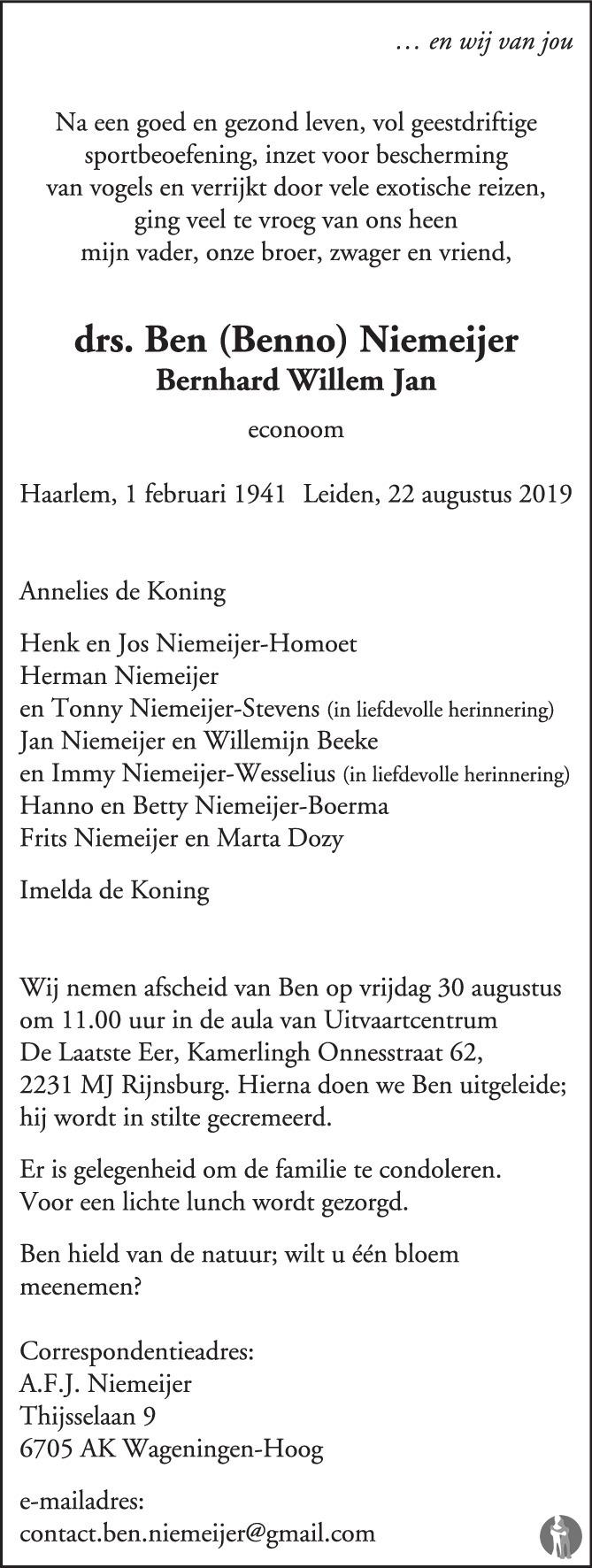 Overlijdensbericht van drs. Bernhard Willem Jan (Ben, Benno) Niemeijer in de Volkskrant