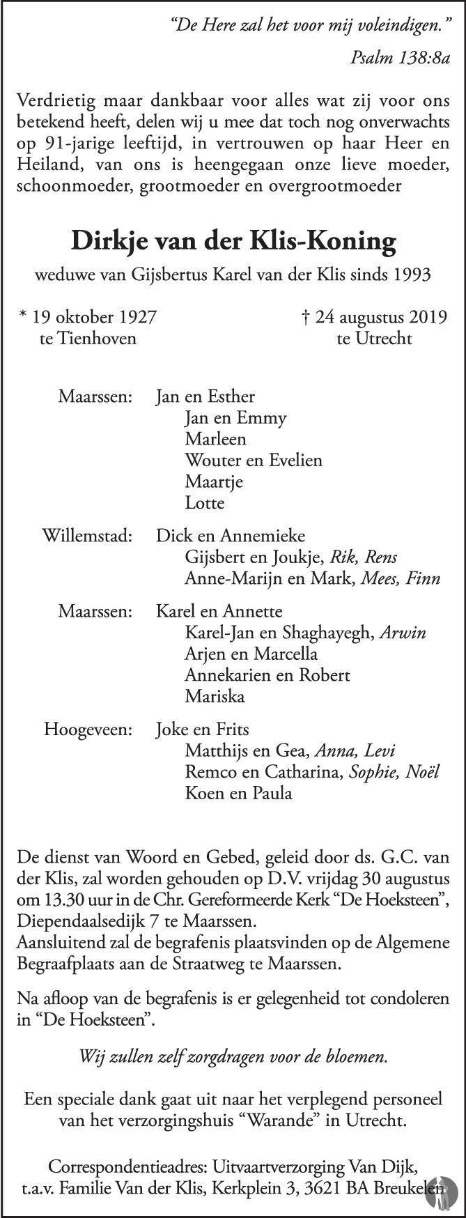 Overlijdensbericht van  Dirkje van der Klis - Koning in AD Algemeen Dagblad