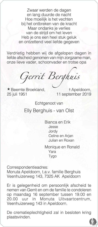 Overlijdensbericht van Gerrit Berghuis in de Stentor