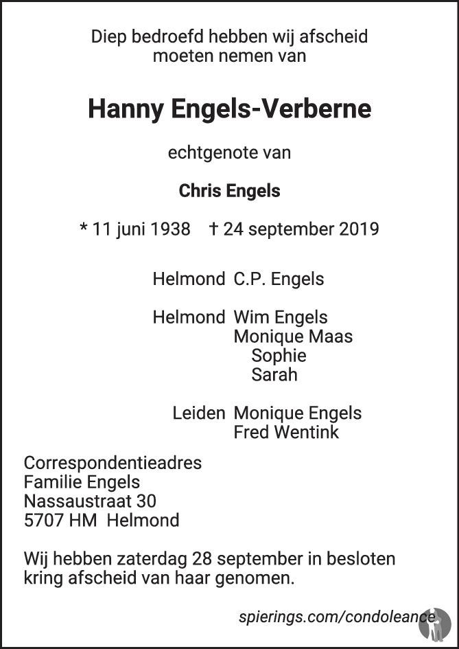 Hanny Engels Verberne 24 09 2019 Overlijdensbericht En