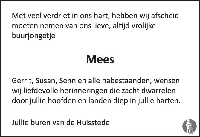 Overlijdensbericht van Mees Ponstein in Huis aan Huis Elburg Oldebroek Nunspeet