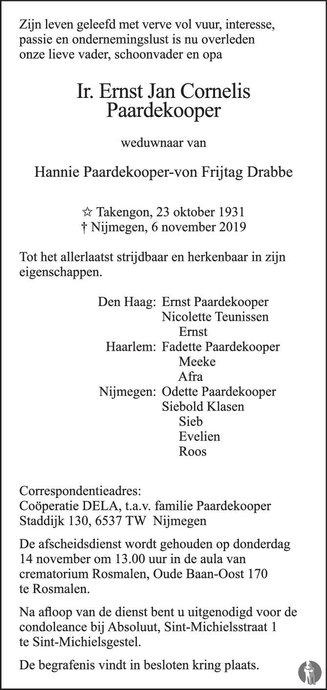 Overlijdensbericht van Ir. Ernst Jan Cornelis Paardekooper in Brabants Dagblad