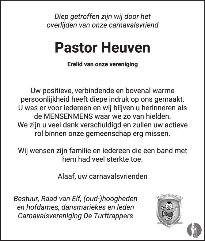 Overlijdensbericht van Hermanus Cornelius (Pastor Herman) Heuven  in Tubantia