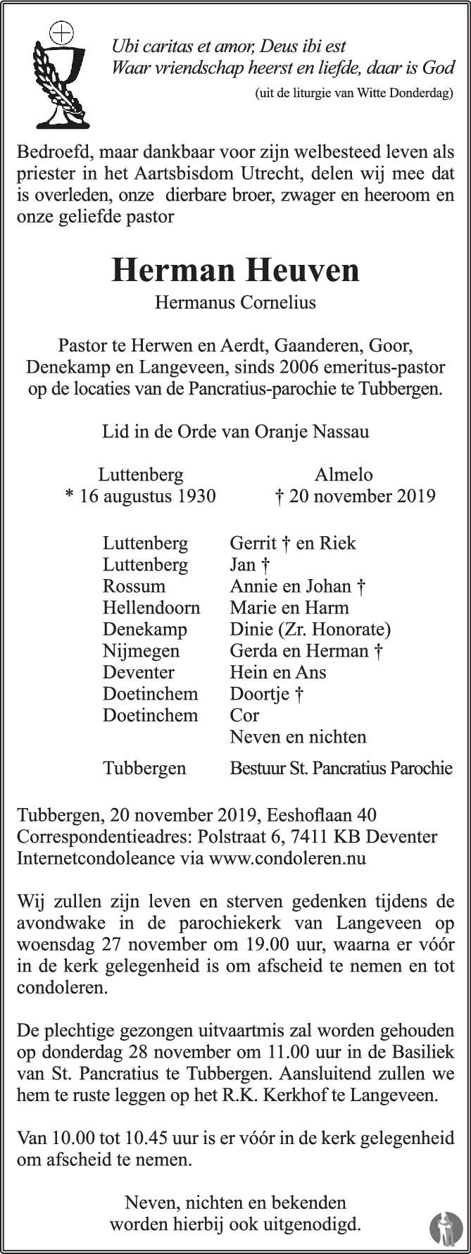 Overlijdensbericht van Hermanus Cornelius (Pastor Herman) Heuven  in de Stentor
