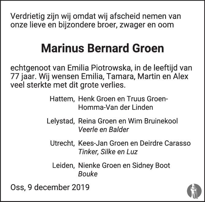 Overlijdensbericht van Marinus Bernard Groen in Brabants Dagblad