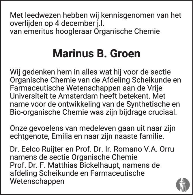 Overlijdensbericht van Marinus Bernard Groen in de Volkskrant